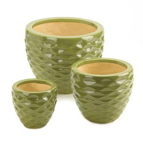 home locomotion ceramic green planter set planters and
