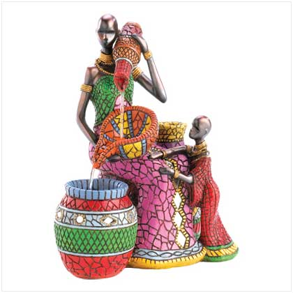 Home locomotion tribal mother and child fountain african for African body decoration