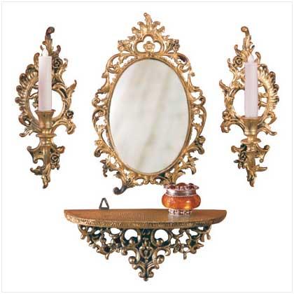 Mirror Sconces Wall Decor : VICTORIAN DECOR MIRROR SHELF & 2 CANDLE SCONCE WALL SET eBay