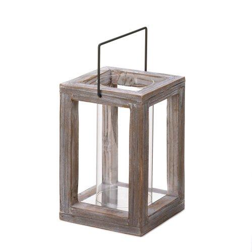 distressed wood hurricane lantern
