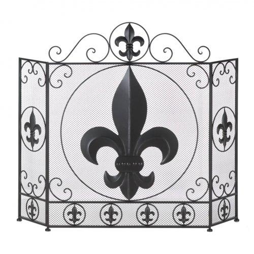 fleur-de-lis fireplace screen