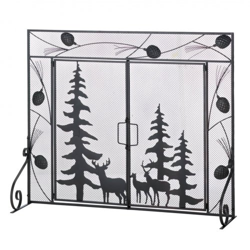 woodland forest fire place screen