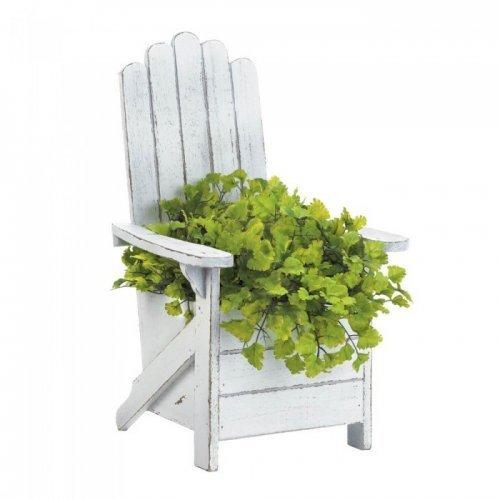 white adirondack chair planter