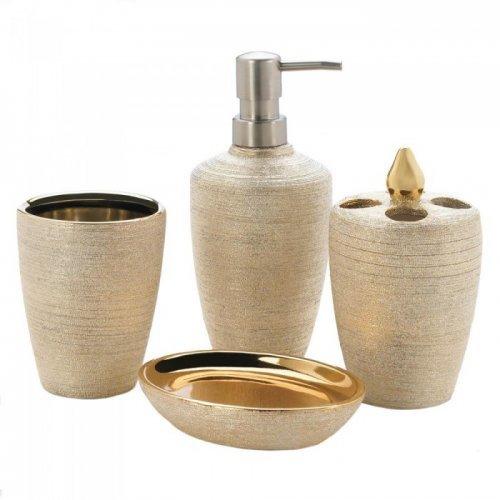 golden shimmer bath set