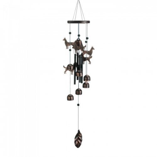 """26"""" bronze dogs wind chimes"""