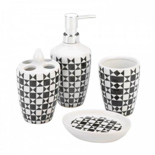 geometric pattern bath accessory set
