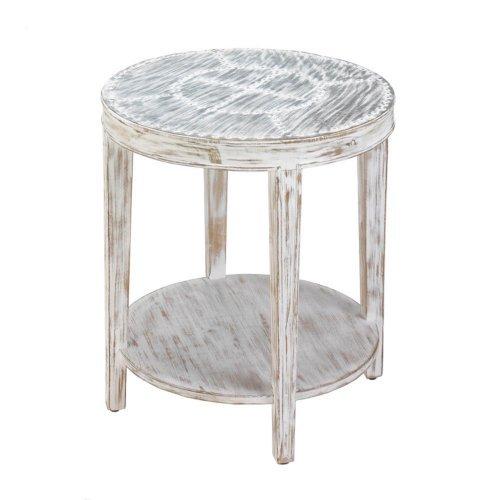 seward distressed round wood side table