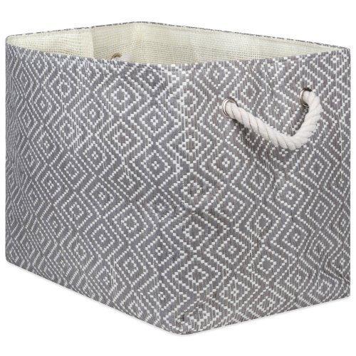 paper bin diamond basketweave stone/black rectangle medium 15x10x12