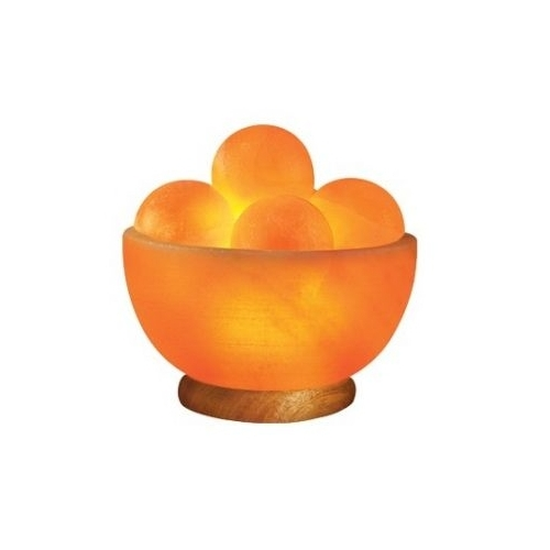 Natural Solution Himalayan Salt Bowl Lamp With Round Massage Stones, Himalayan Salt Lamps - Drop ...