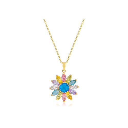Icon bijoux goldtone colorful flower pendant pendants for Drop shipping jewelry business