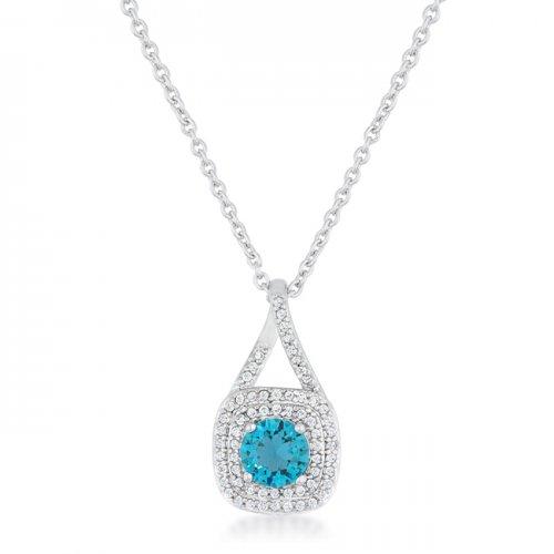 christal 1.2ct aqua czrhodium classic necklace