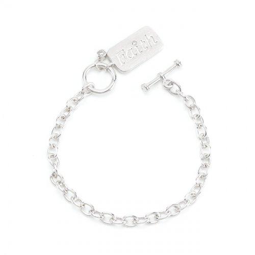 silvertone faith charm bracelet
