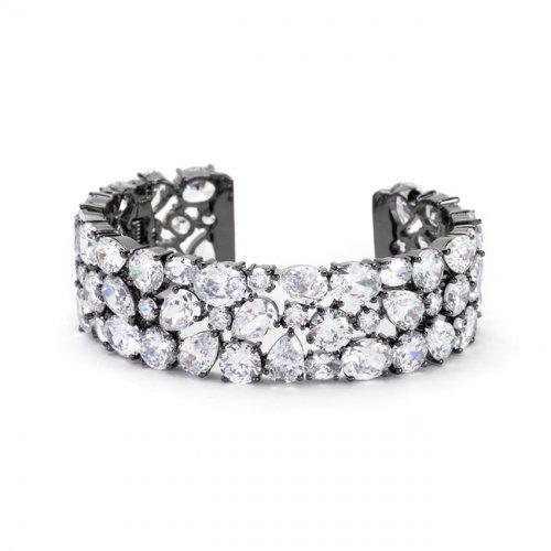 bejeweled cz cuff black tone