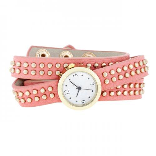 pink mini studded wrap watch