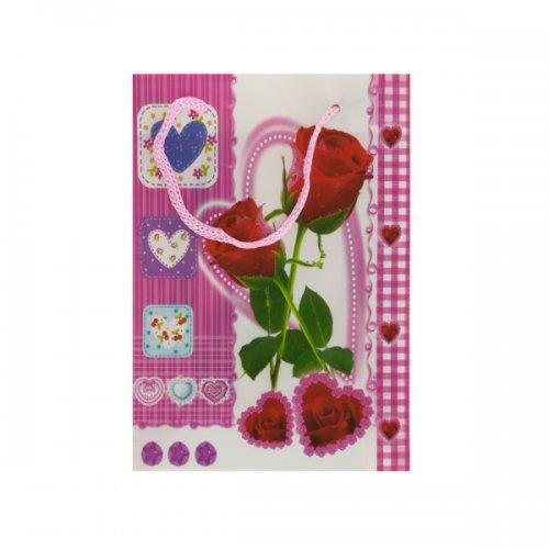 "6.75"" roses/hearts gift bag"