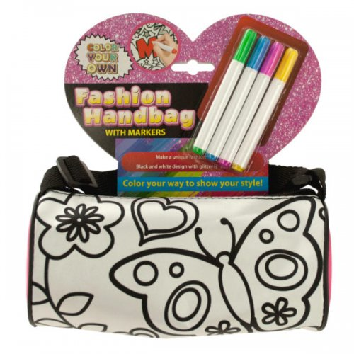 color your own fashion roll handbag with markers