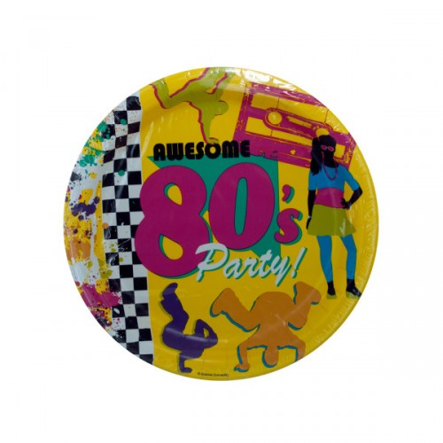 8 pack awesome 80s party 8.875 inch round plates
