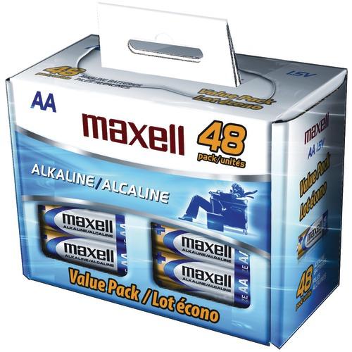 maxell alkaline batteries (aa; 48 pk; box)