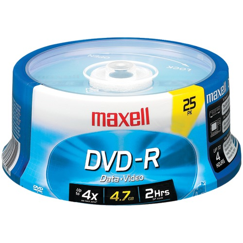 maxell 4.7gb 120-minute dvd-rs (25-ct spindle)
