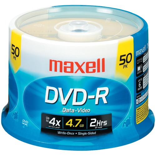 maxell 4.7gb 120-minute dvd-rs (50-ct spindle)
