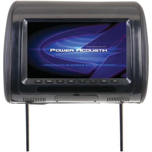 "power acoustik universal headrest monitor with ir transmitter & 3 interchangeable skins (9"")"