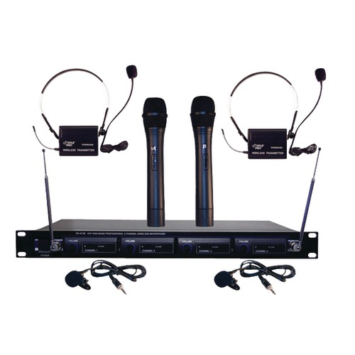 pyle pro 4-microphone vhf wireless rack-mount microphone system