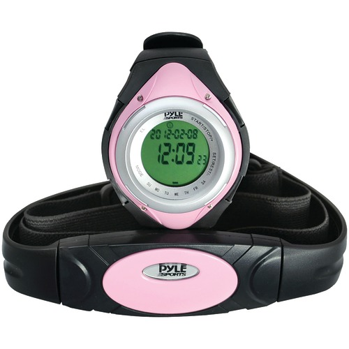 pyle pro heart rate monitor watch with minimum, average & maximum heart rate (pink)