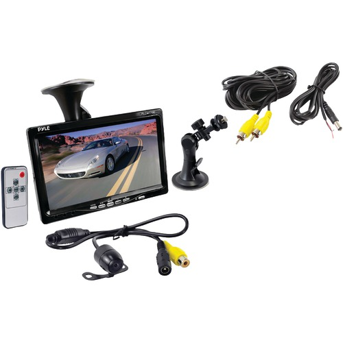 pyle car backup system with 7-inch monitor and bracket-mount backup camera with distance scale line