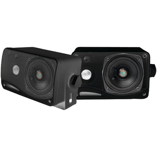 "pyle pro hydra series 3.5"" 200-watt 3-way weatherproof mini-box speaker system (black)"
