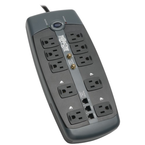 tripp lite 10-outlet surge protector with telephone protection (with coaxial and modem protection, 3,345 joules)