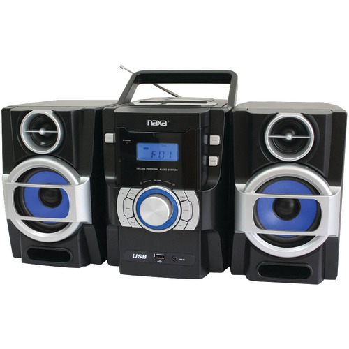 naxa portable cd and mp3 player with pll fm radio, detachable speakers & remote