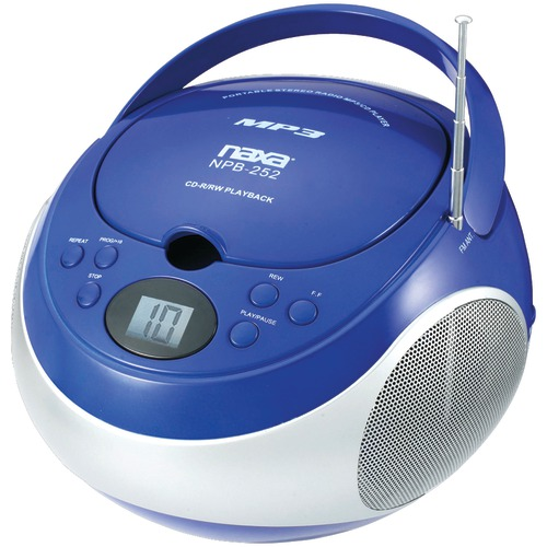 naxa portable cd and mp3 players with am and fm stereo (blue)
