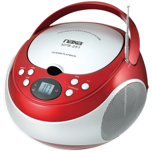 naxa portable cd player with am and fm radio (red)