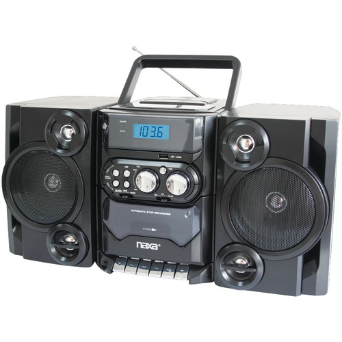 naxa portable cd and mp3 player with am and fm radio, detachable speakers, remote & usb input