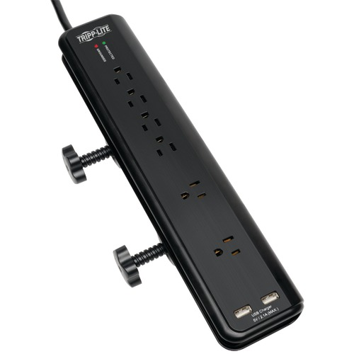 tripp lite 6-outlet surge protector with clamps & 2 usb ports