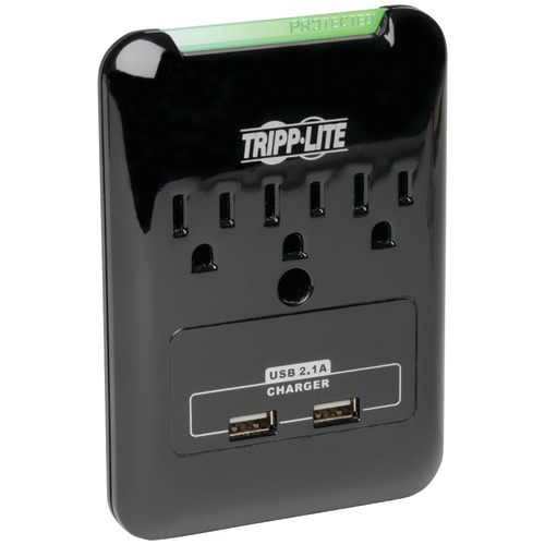 tripp lite 3-outlet surge protector with 2 usb ports