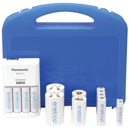 panasonic 4-position charger with 2 aaa & 8 aa eneloop batteries & 2 c & 2 d spacers