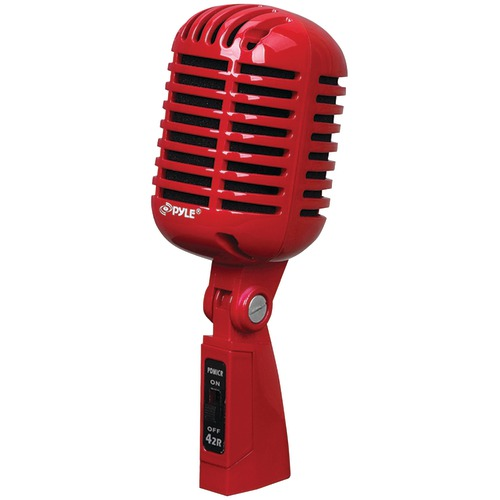pyle pro classic retro-style dynamic vocal microphone (red)