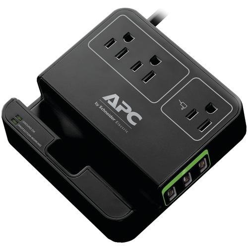 apc 3-outlet surgearrest surge protector with 3 usb ports (black)