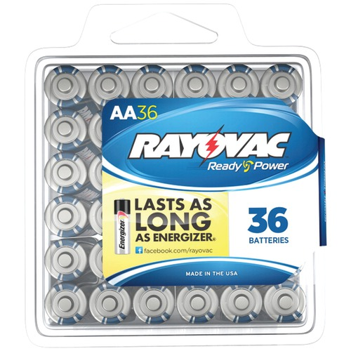 rayovac alkaline batteries reclosable pro pack (aa, 36 pk)