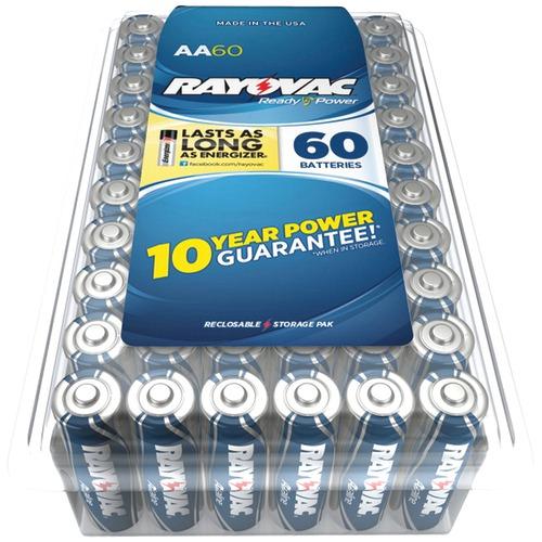 rayovac alkaline batteries reclosable pro pack (aa, 60 pk)