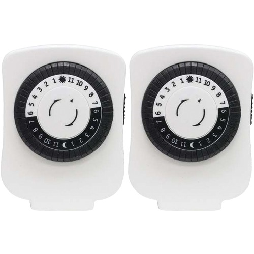 ge 24-hour polarized plug-in mechanical timer with 48 on and off & 1 outlet, 2 pk
