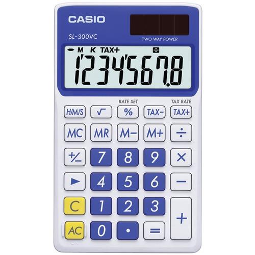 casio solar wallet calculator with 8-digit display (blue)