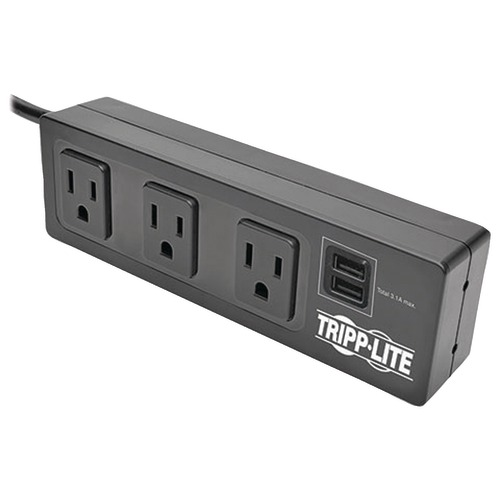 tripp lite protect it! 3-outlet surge protector with 2 usb ports & desk clamp