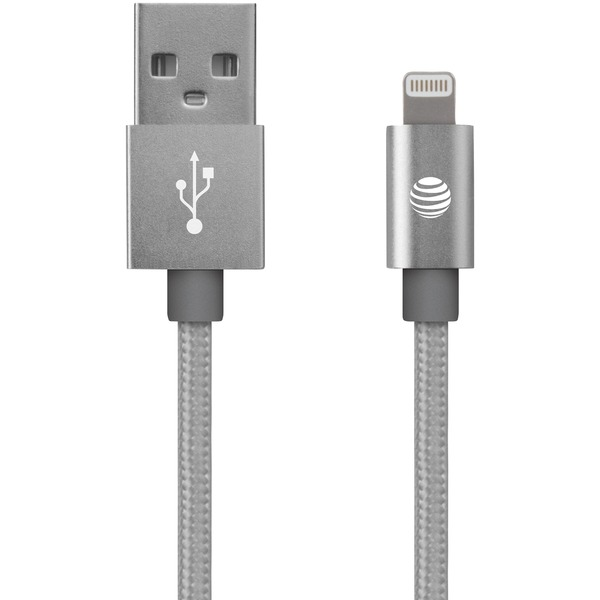 at&t charge & sync braided usb to lightning cable, 4ft (silver)