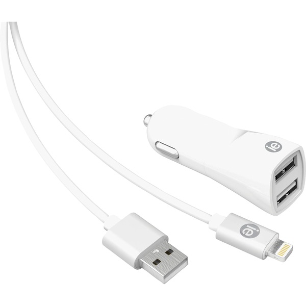 iessentials 2.4-amp dual-usb wall charger with lightning cable, 4ft