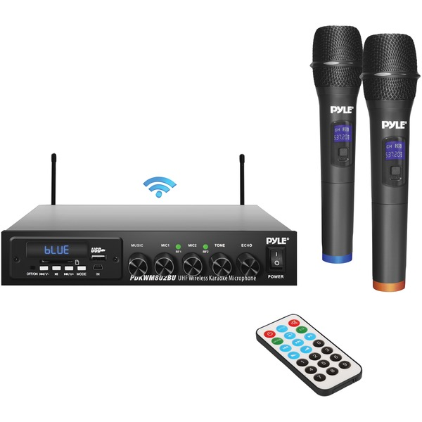 pyle wireless microphone & bluetooth receiver system