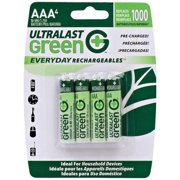 ultralast green everyday rechargeables aaa nimh batteries, 4 pk