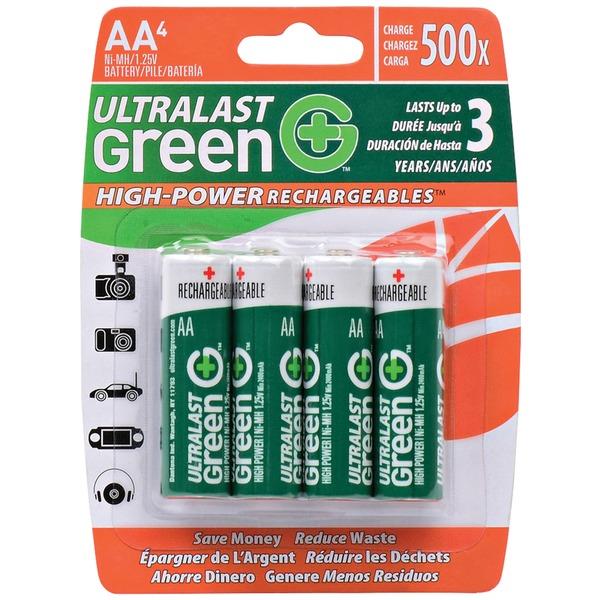 ultralast green high-power rechargeables aa nimh batteries, 4 pk