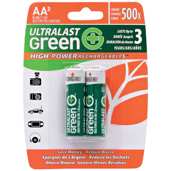 ultralast green high-power rechargeables aa nimh batteries, 2 pk